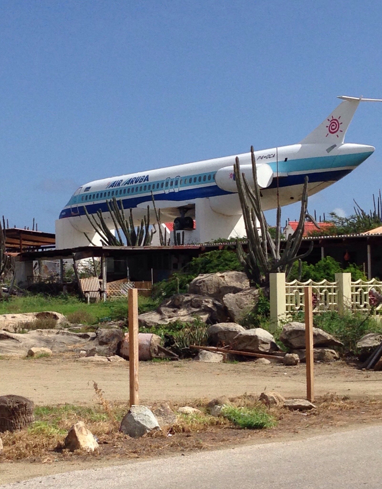 Aruba Airline Airplane on a hilltop over Santa Cruz, just off route 4.  Locals know it's there b