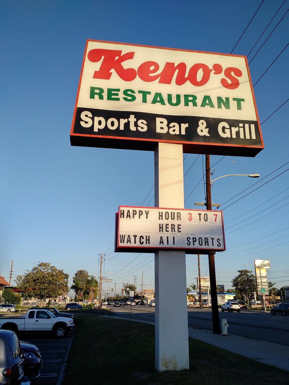 Keno restaurant anaheim menu