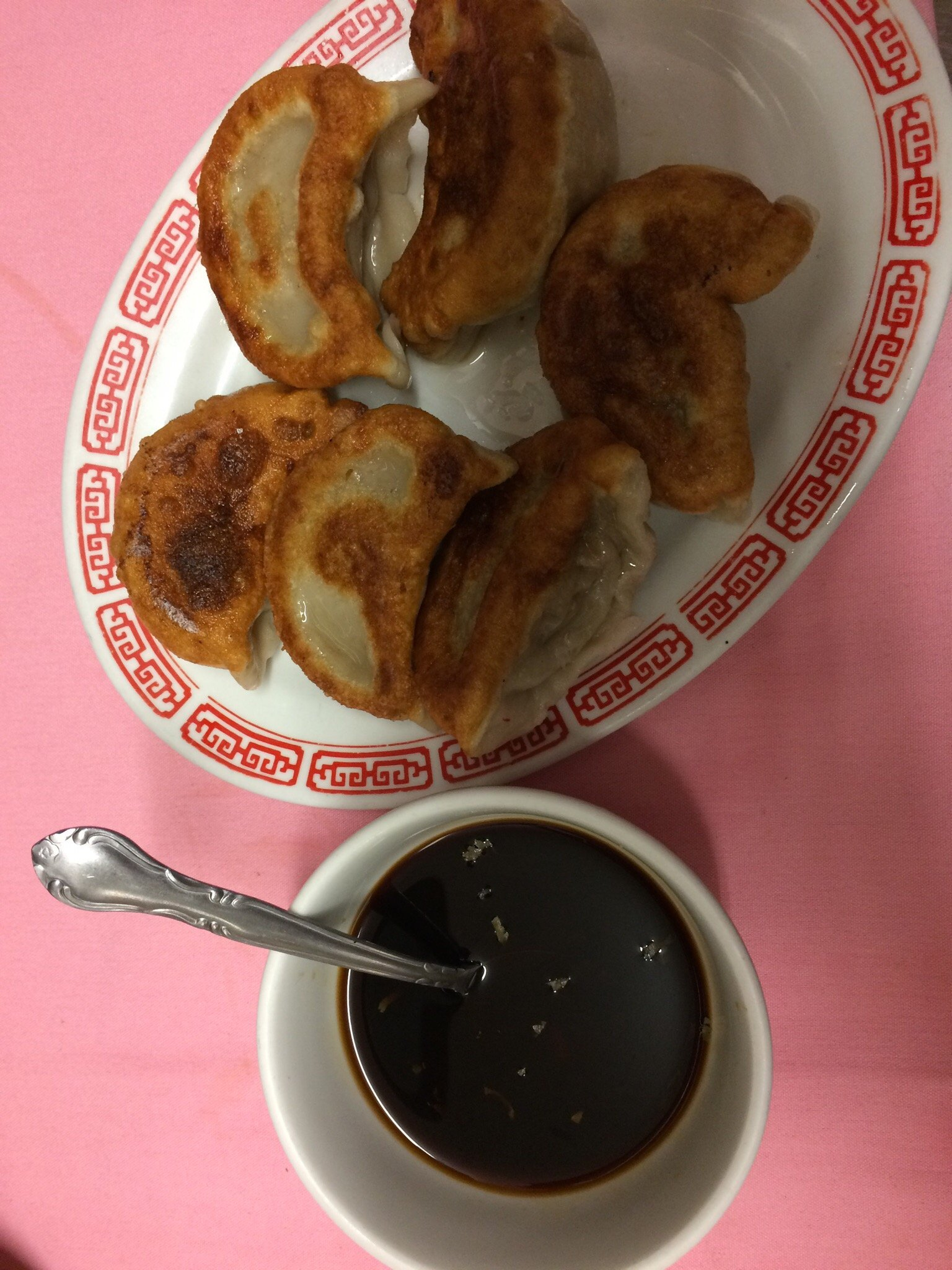 Fried Peking ravioli and ginger sauce