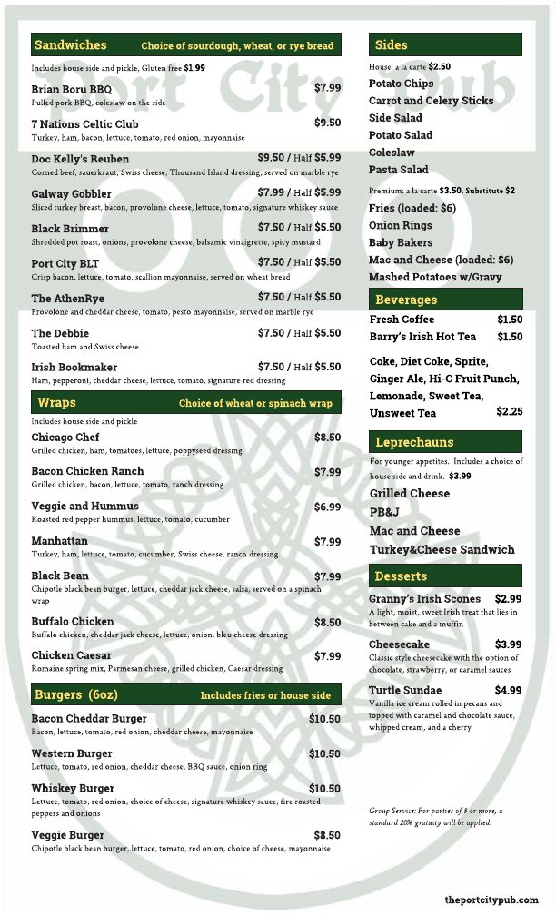 Port City Pub Menu