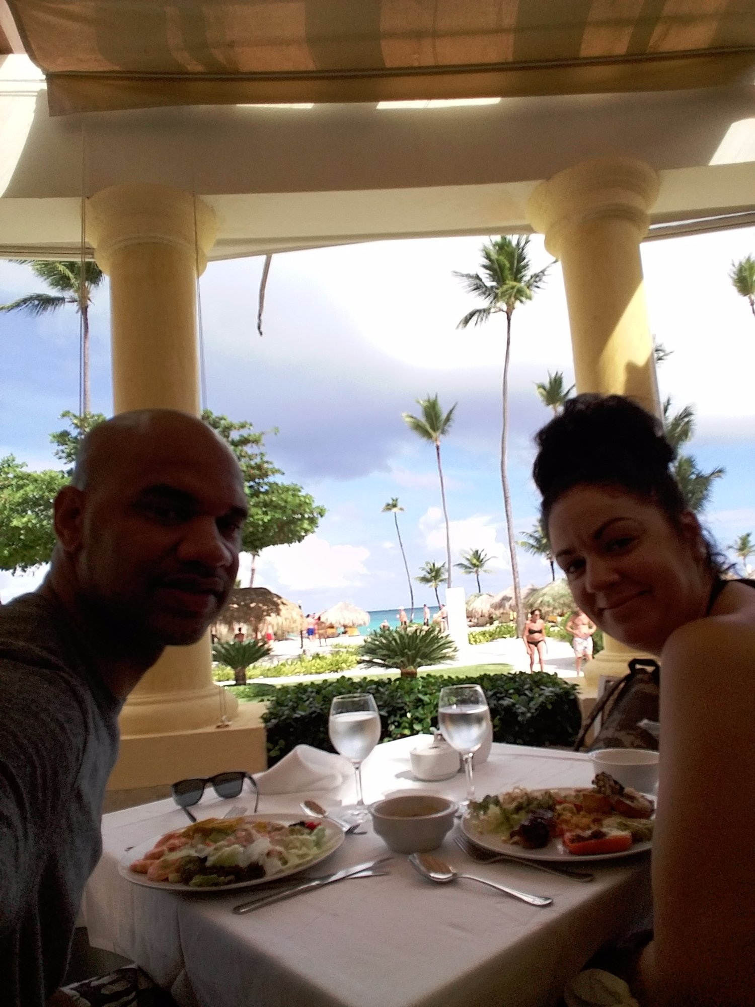 My wife & I having lunch @ Iberostar Grand Bavaro Resort Punta Cana DR