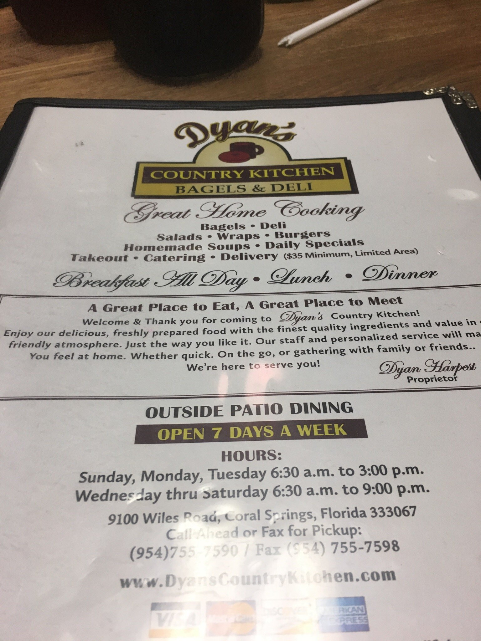 dyan s country kitchen coral springs menu prices restaurant
