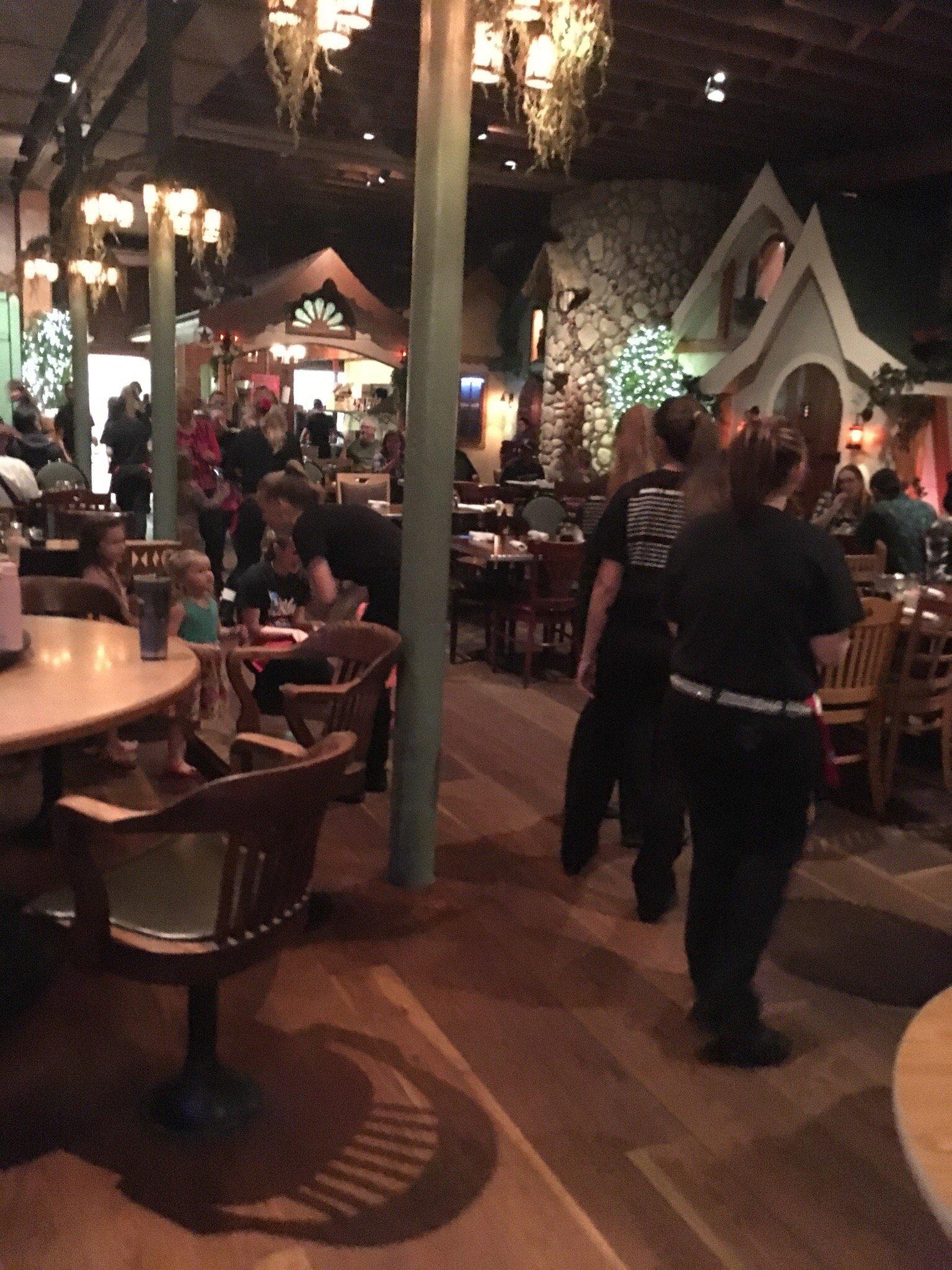 Inside the restaurant , The Hokey Pokey, by the waitresses.