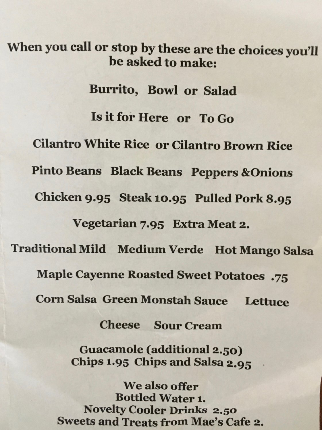 Menu that you order from.