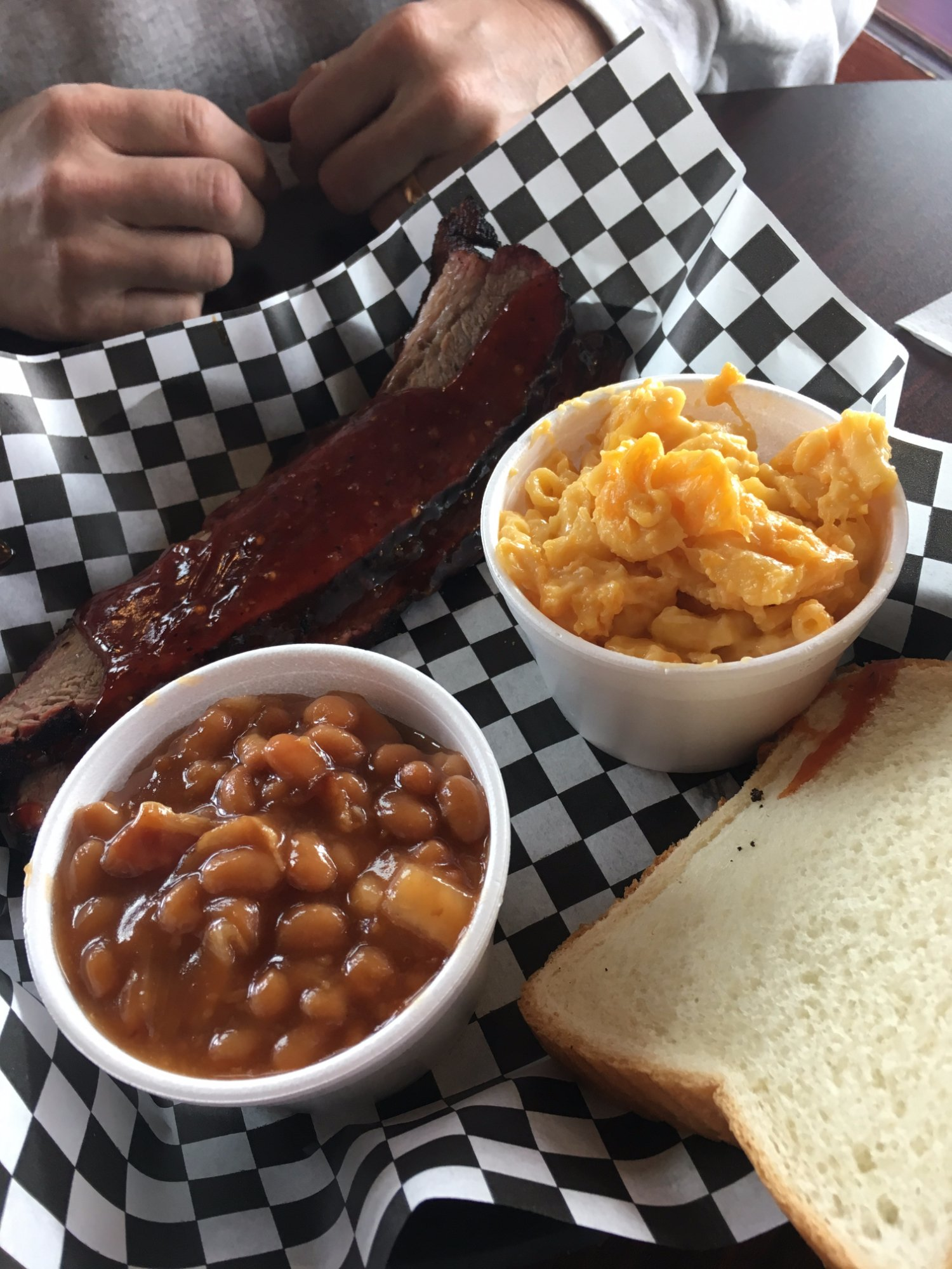 Brisket, sweet bbq beans and mac and cheese