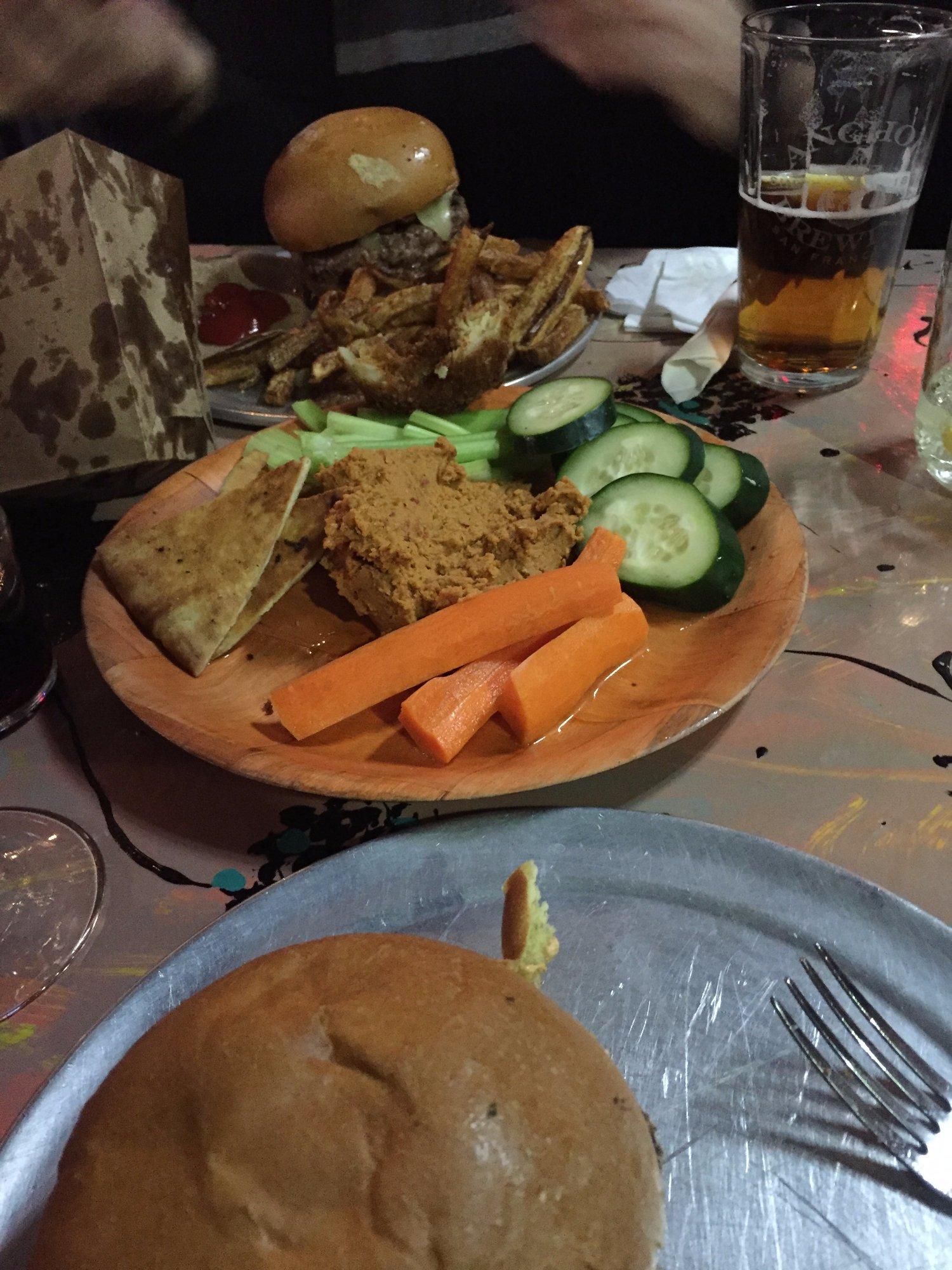 Burgers and Chipotle Hummus