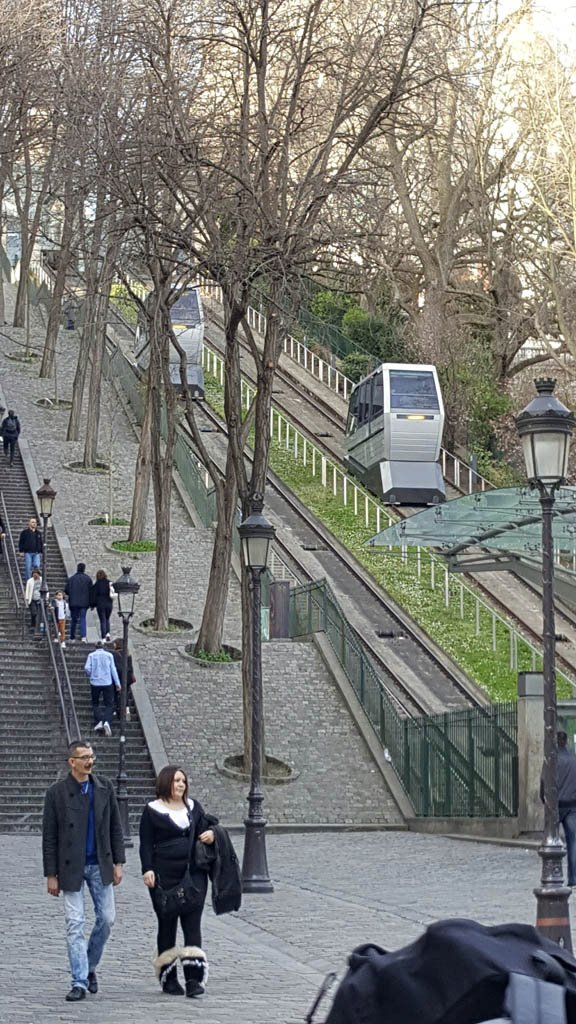 The funicular at Montmartre takes you to the top of the hill.