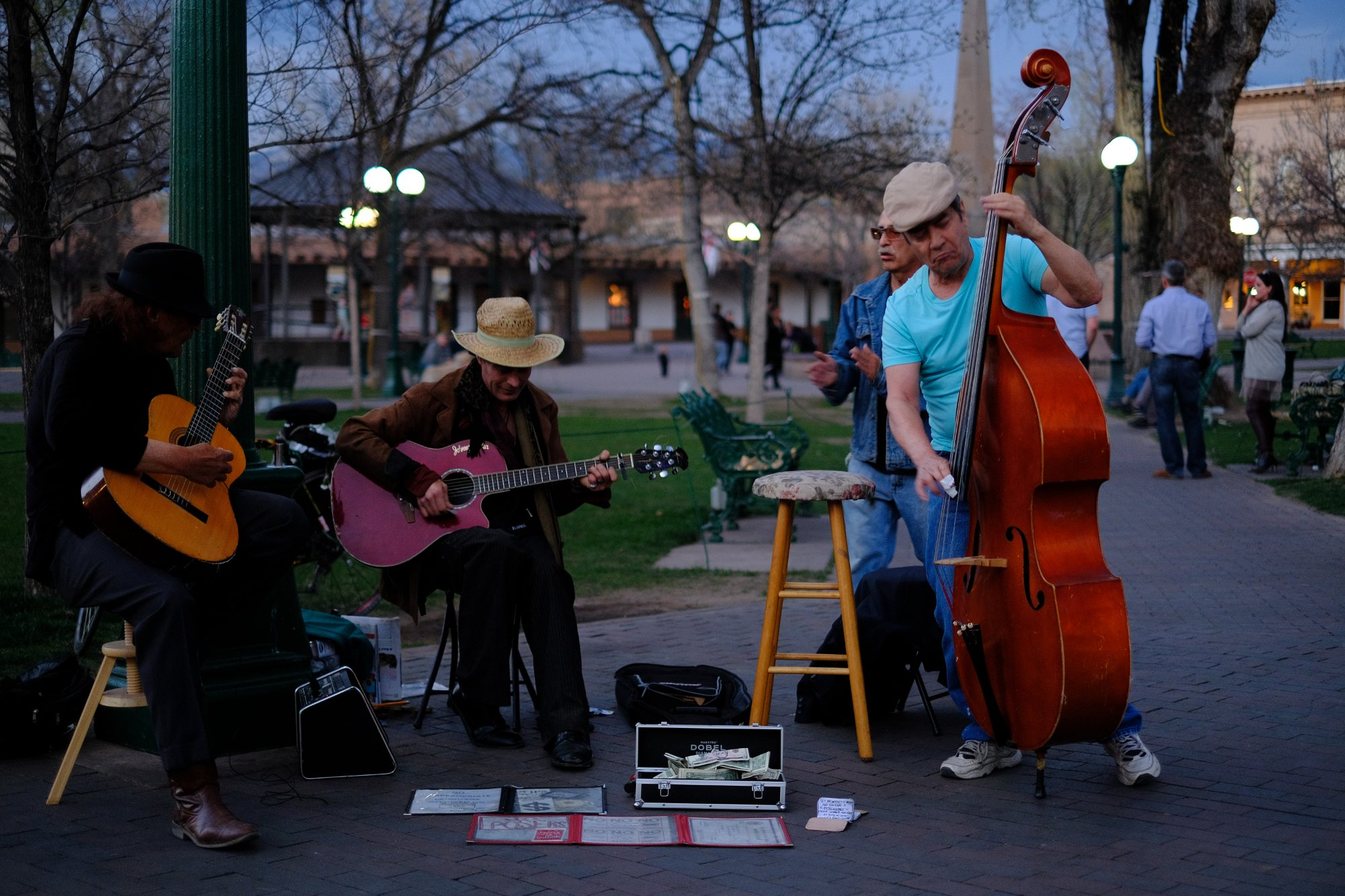 The Square, Santa Fe; musicians come out at night
