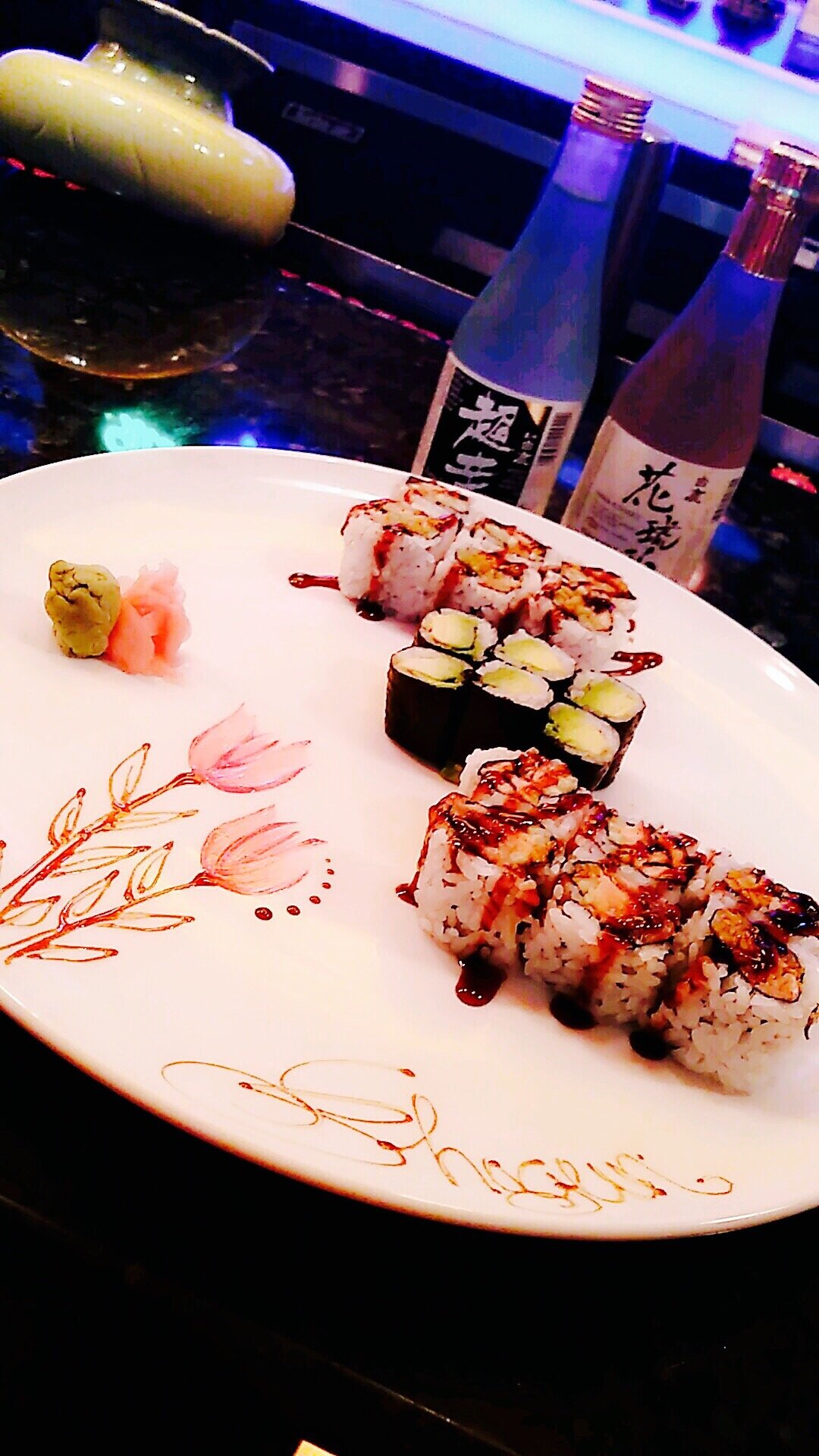 Sushi with cold sake