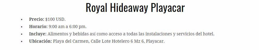 Day pass Hotel Royal Hideway playacar