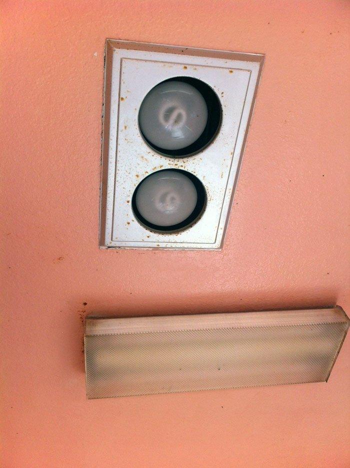 Filthy bathroom ceiling