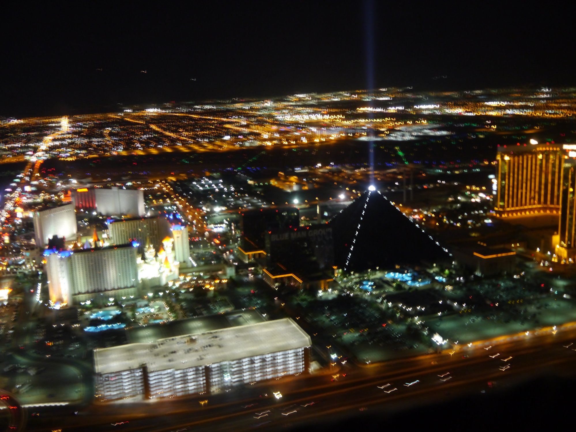 view of luxor hotel from a helicopter ride
