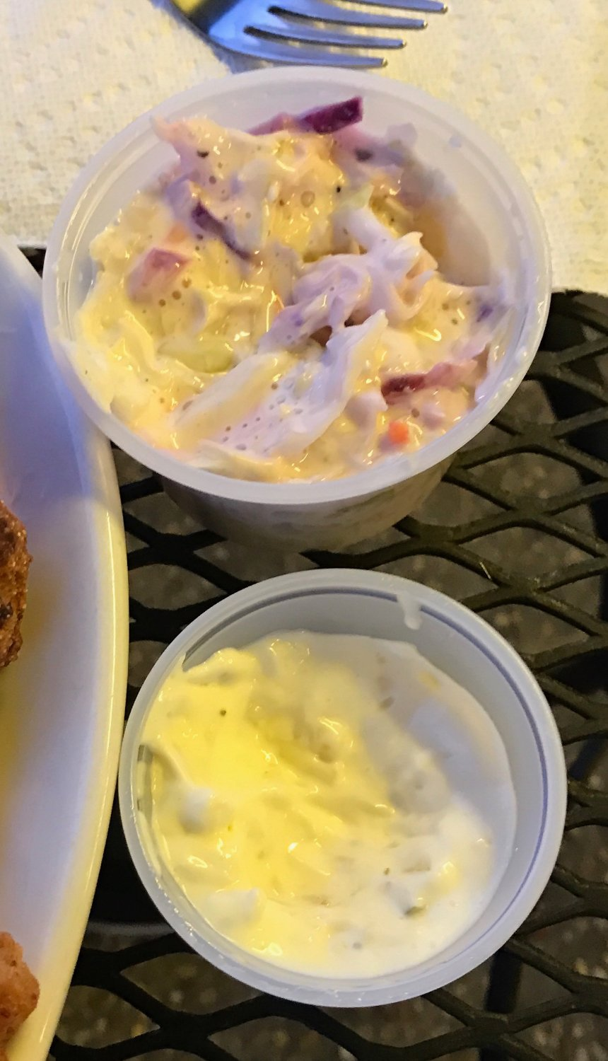 cole slaw and tartar sauce