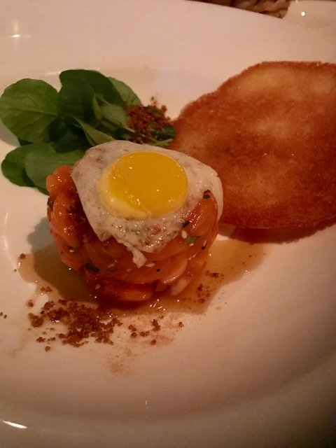 This was a special the night we went. Salmon tartare, quail egg and gingersnap.