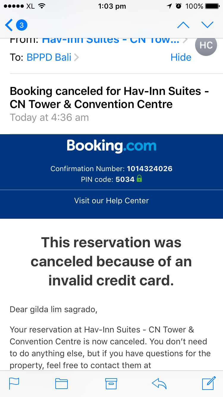 Notification from Bookingdotcom