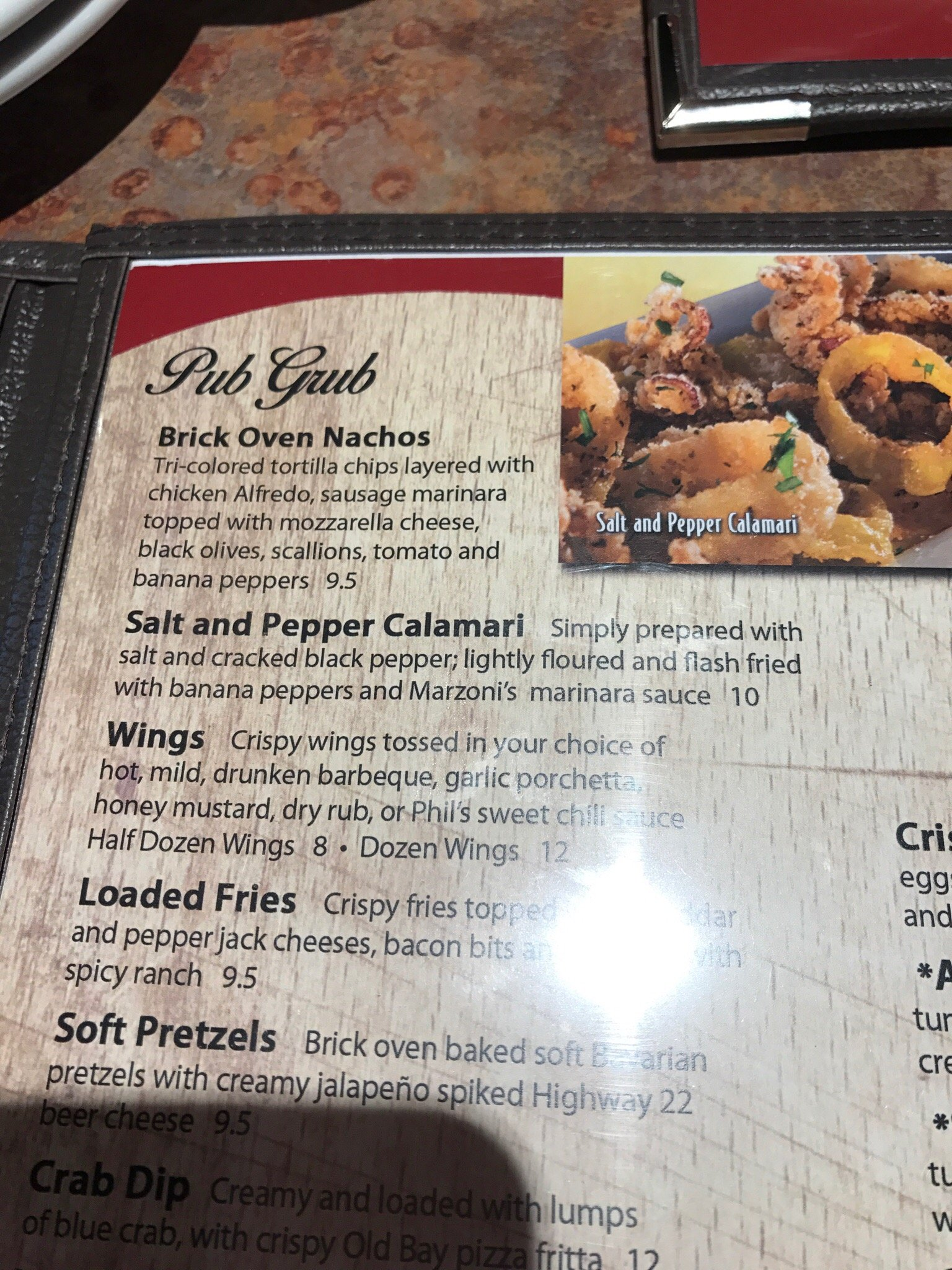 parts of the menu