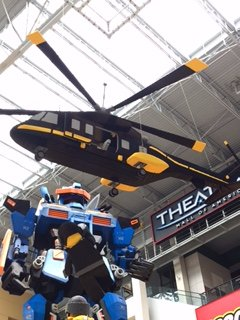 This copter and Transformer are made out of legos.