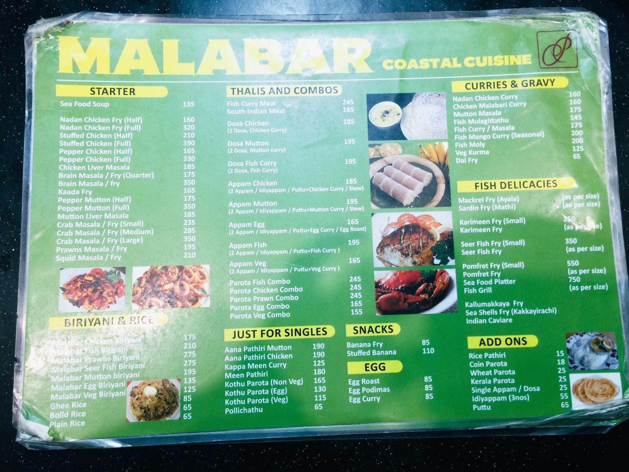 Malabar coastal cuisine bengaluru restaurant reviews for Arman bengal cuisine dinas menu