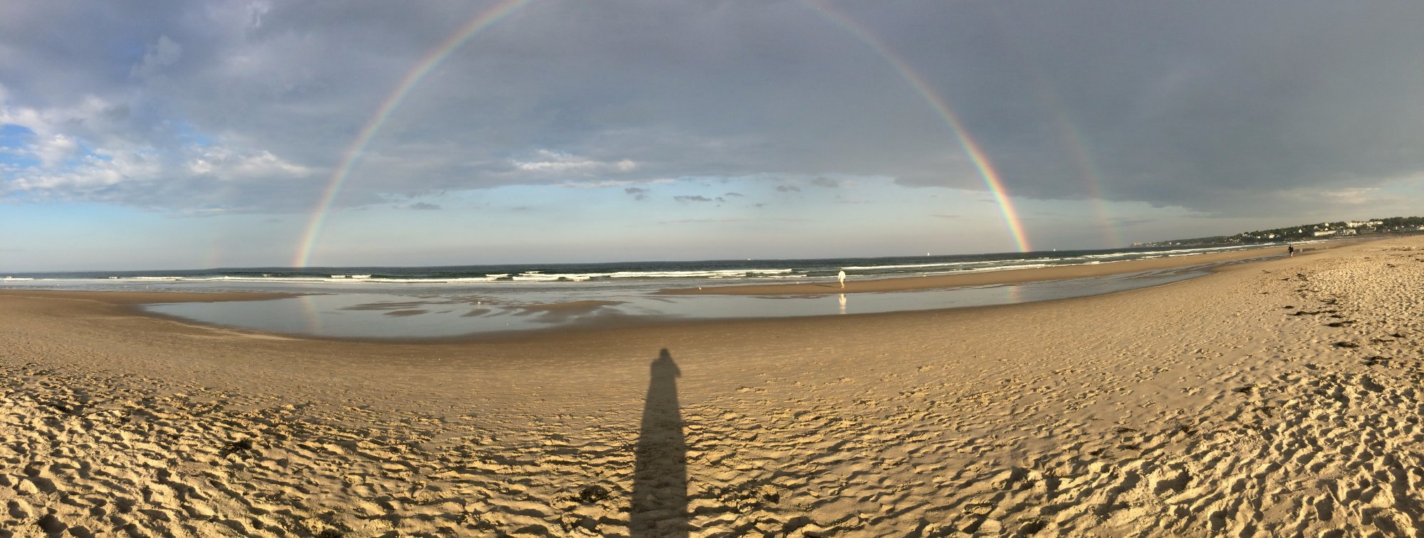 Perfect walking beach. Once in a while you see a beautiful arch rainbow. Magic