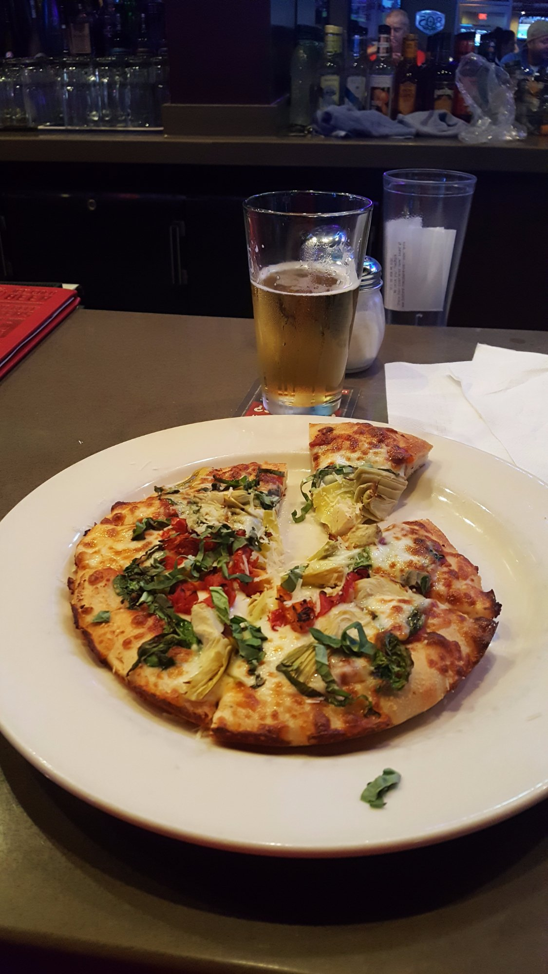 Veggie pizza and brewski