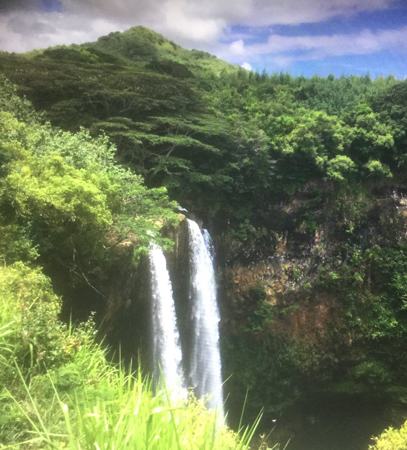 Wailua falls walking from our hotel to the town center