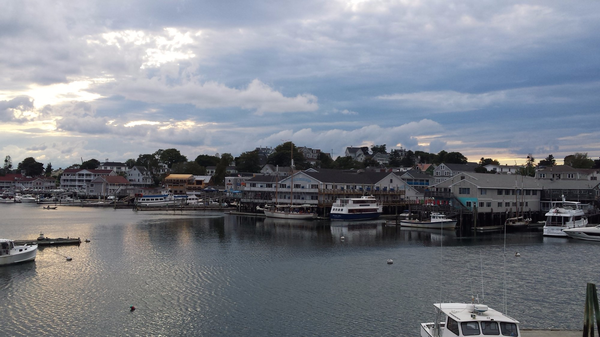 Sitting in small motel looking over the bay at the small town of Boothbay Harbor, Maine