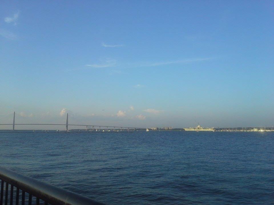 Riverwalk, swings to enjoy the views, USS Yorktown in the background, Battery just a few blocks
