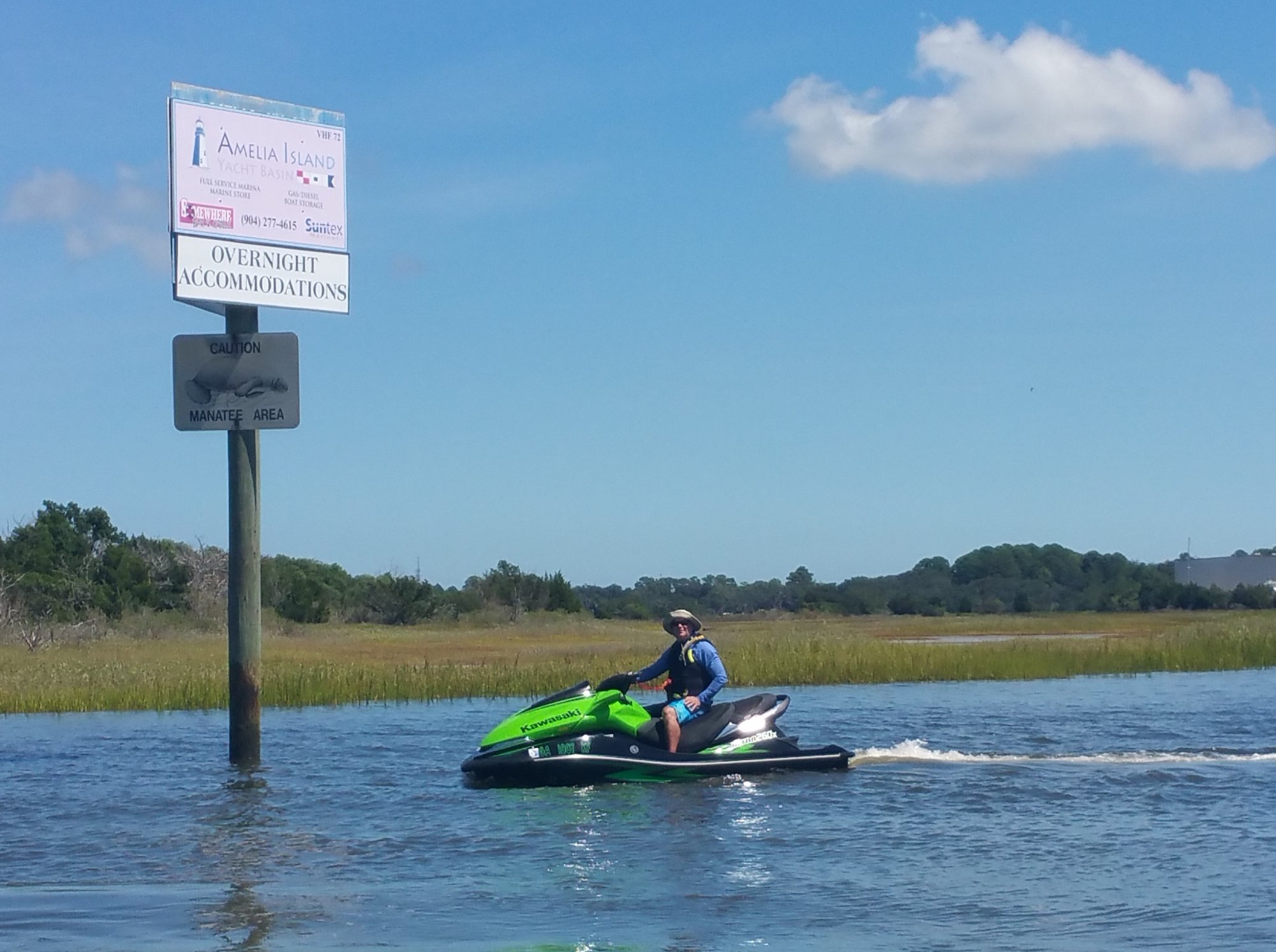 Riding our Jetskis on the ICW at the Amelia Island Yacht Basin Entrance