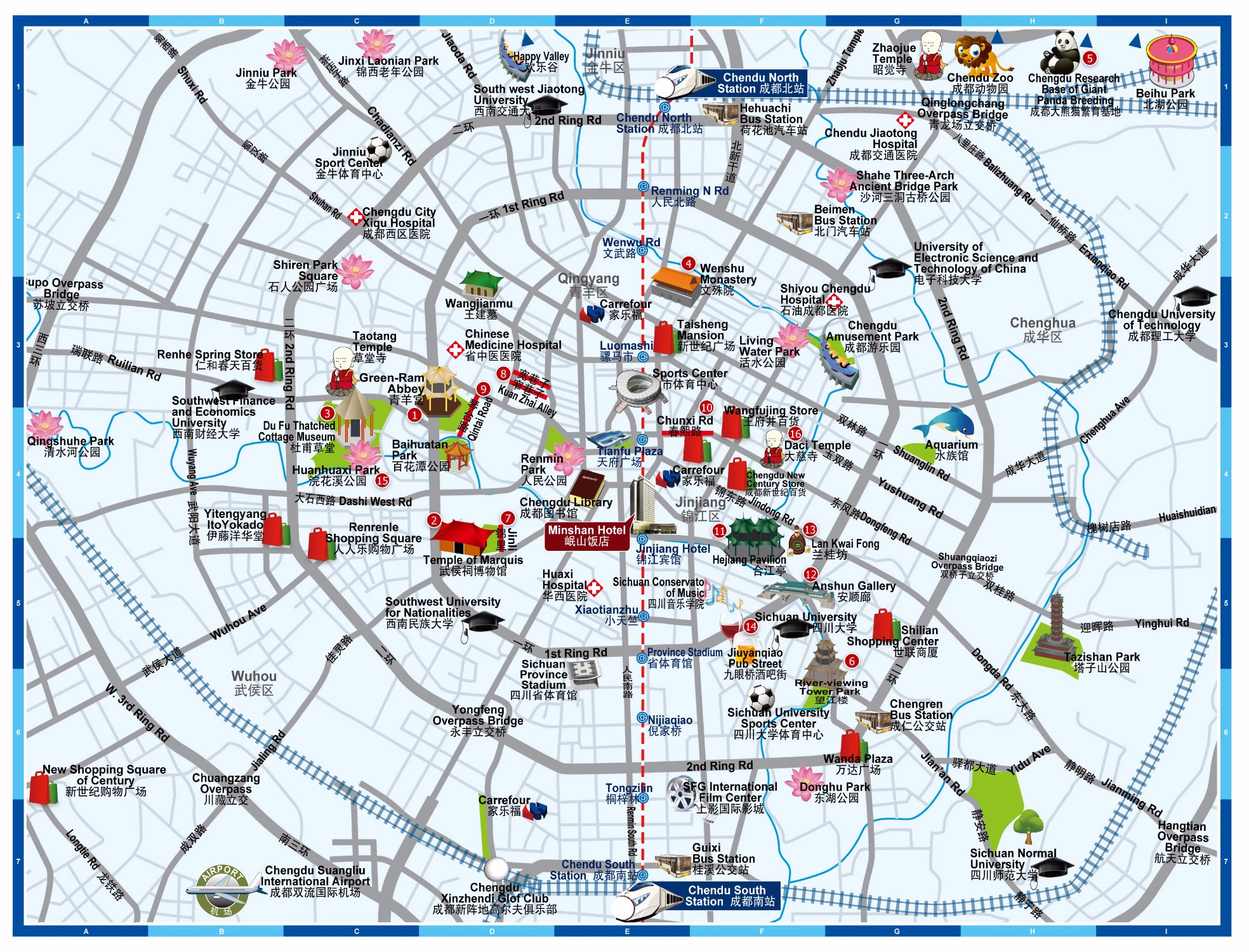 chengdu city tour attractions map