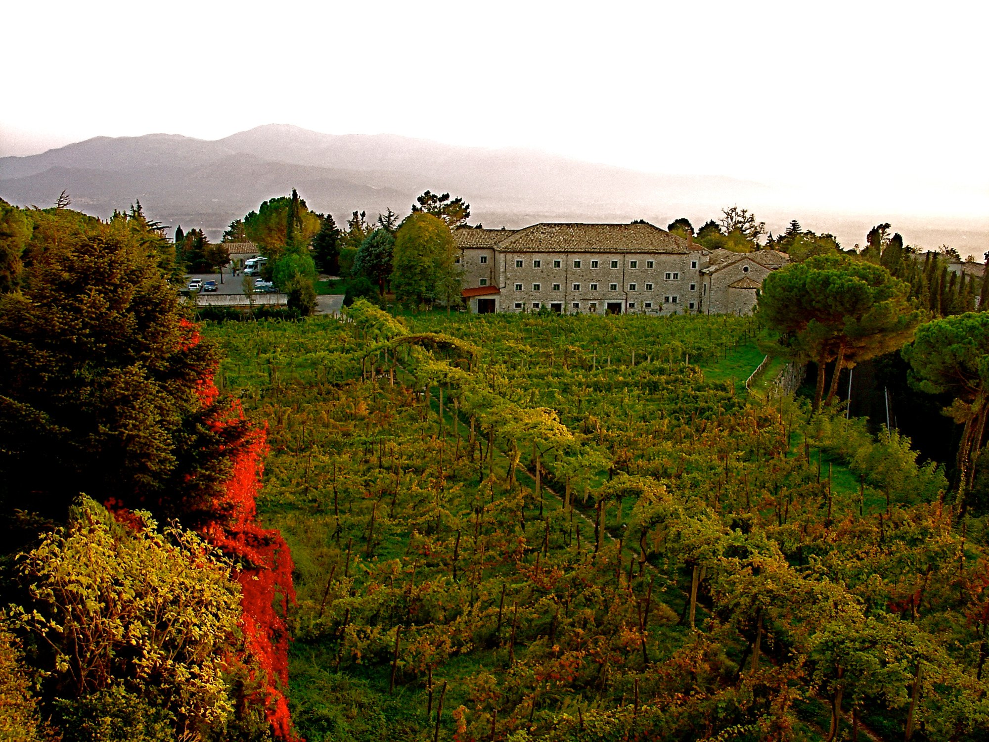 Quarters for workers and guests sit amit a vineyard just below the monastery