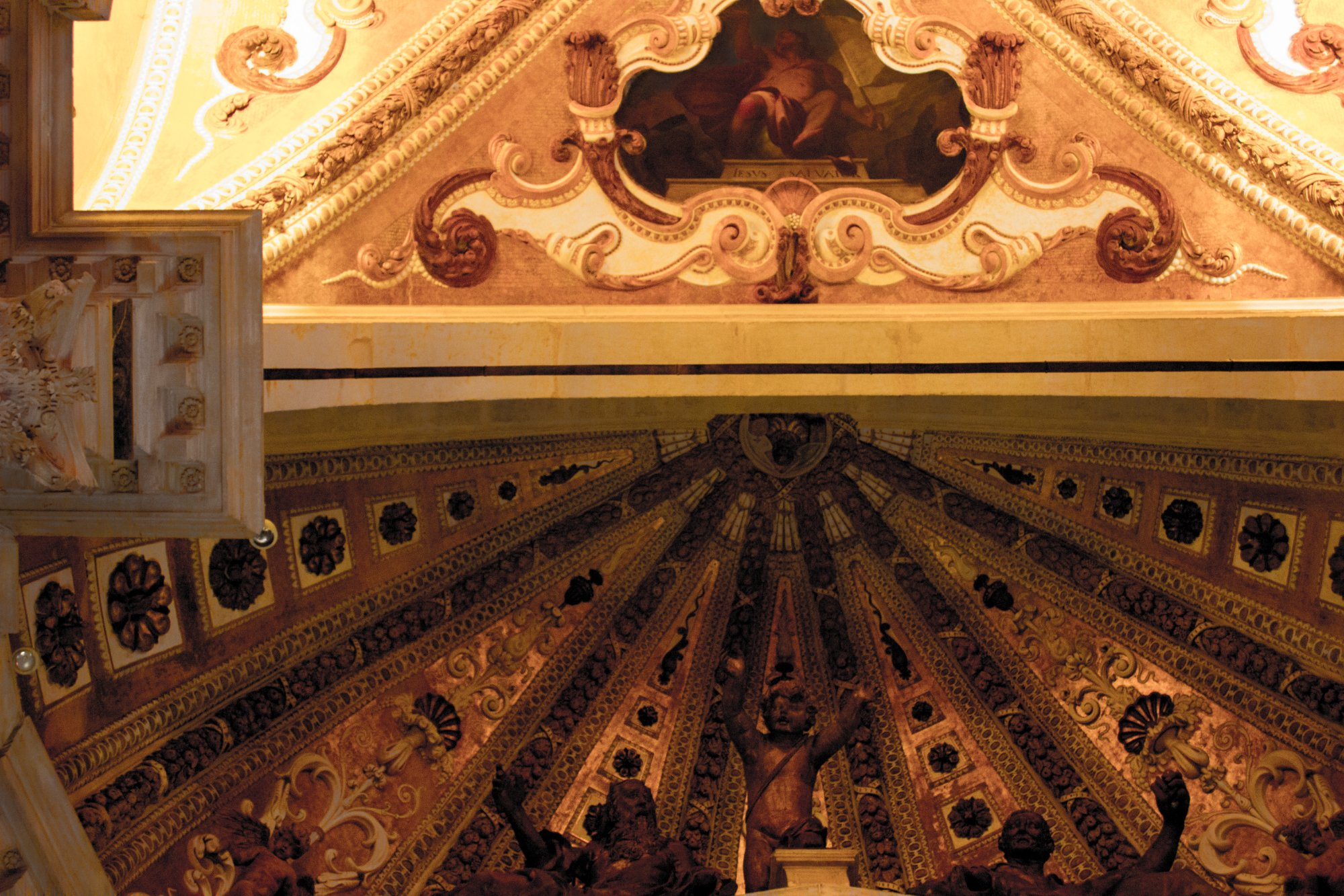 The ceiling in one of the beautiful churches
