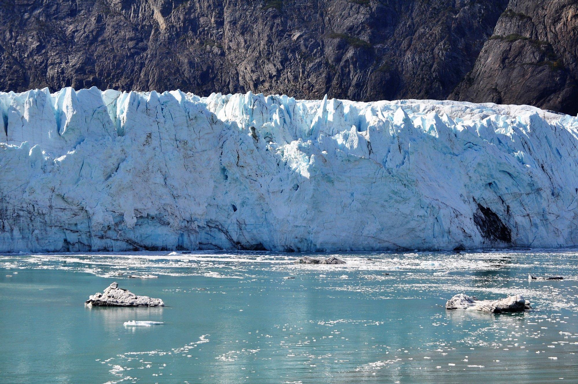 Brilliant blue glacial ice.