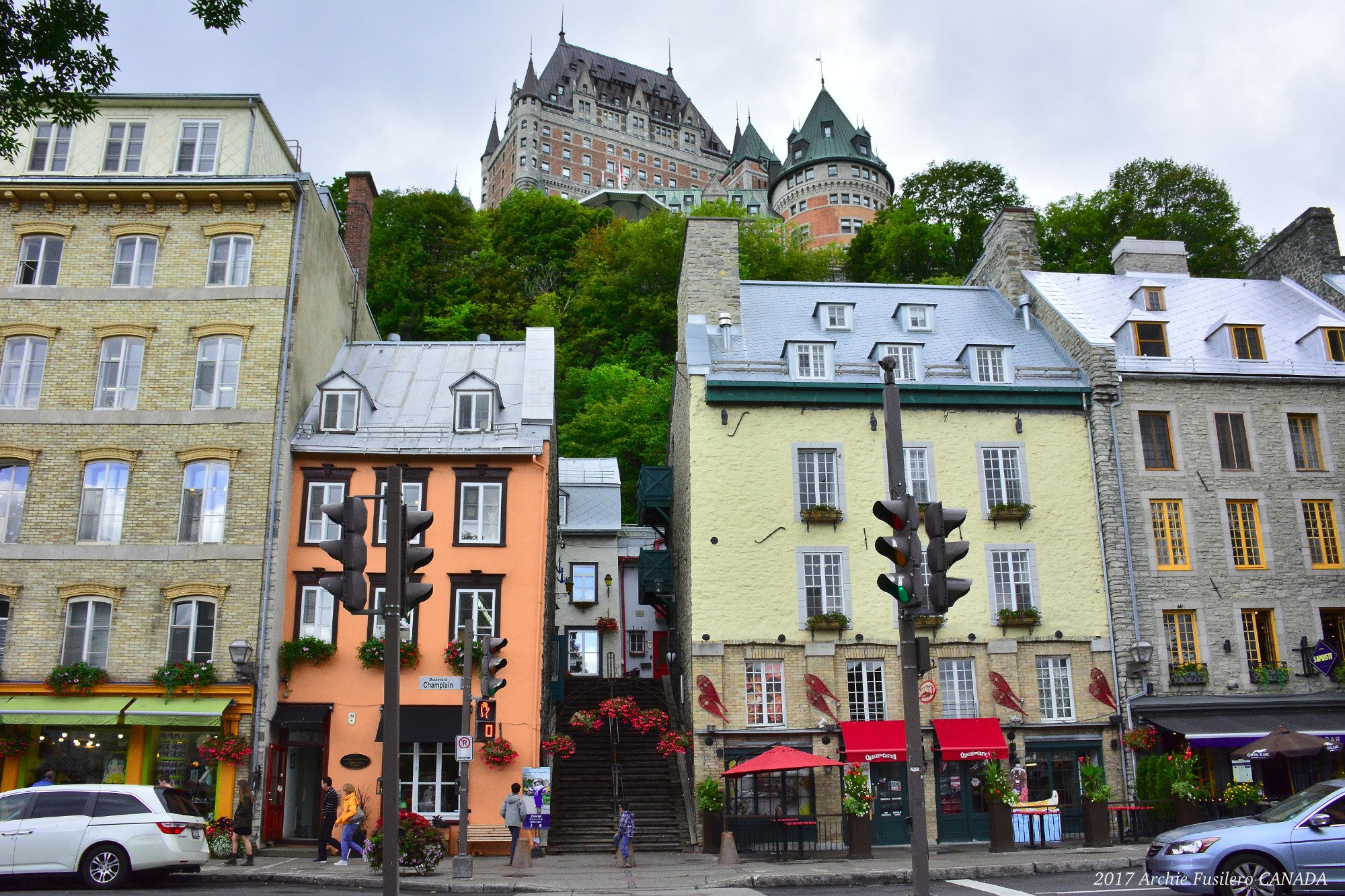 Along Boulevard Champlain, with the Fairmont Le Château Frontenac Hotel in the background.