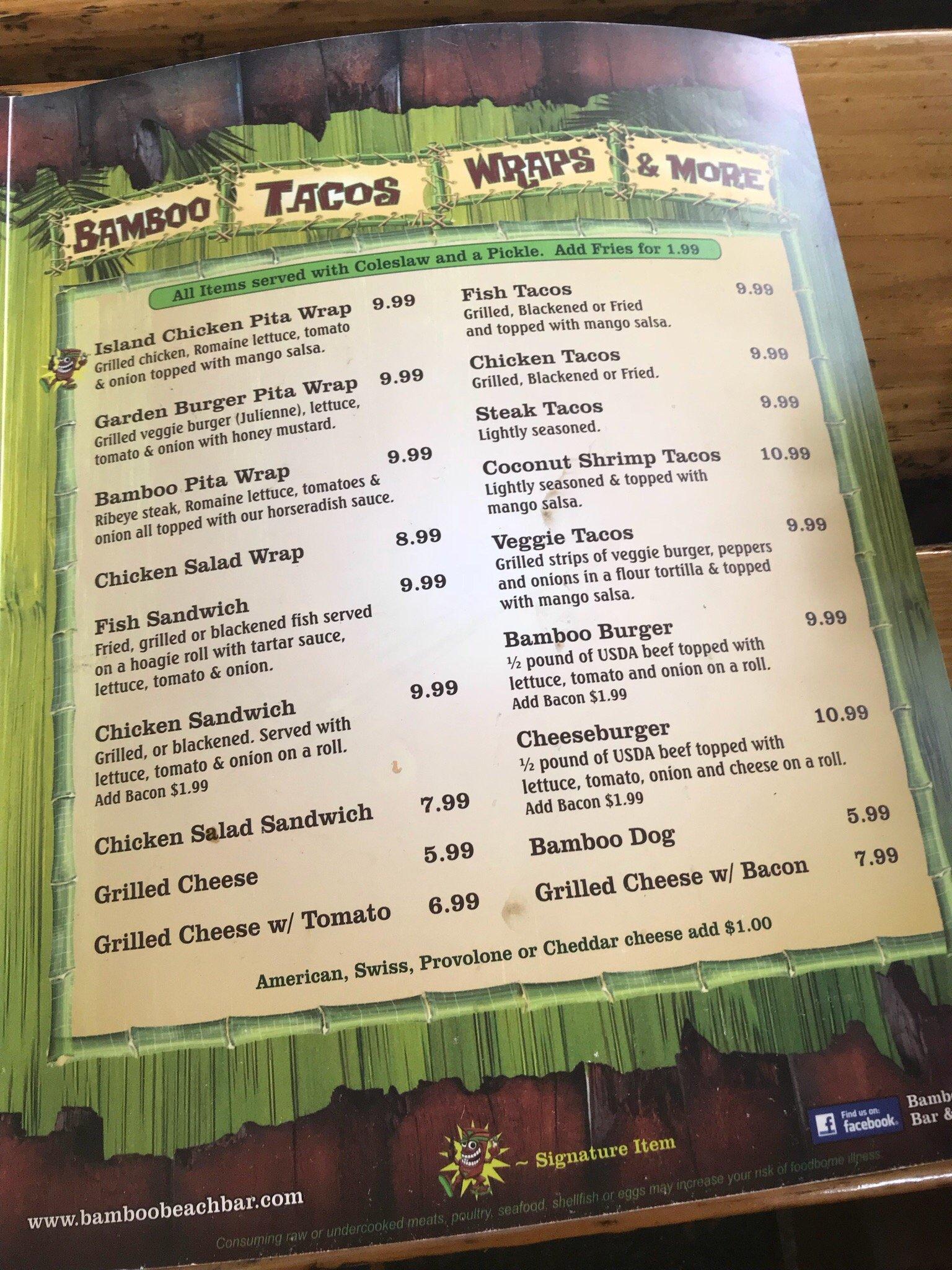 bamboo beach bar u0026 grill madeira beach menu prices