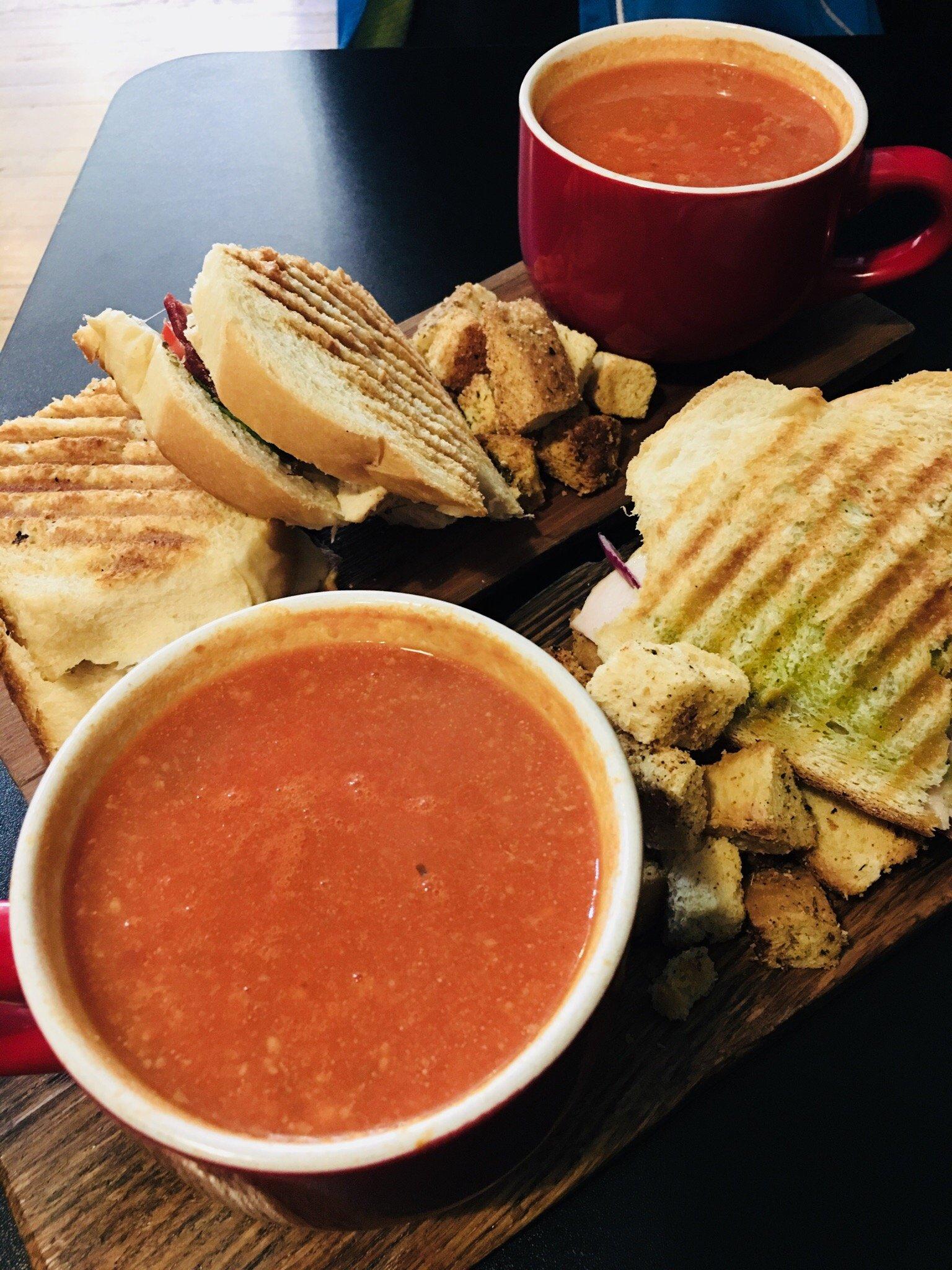 Tomato soup and panini