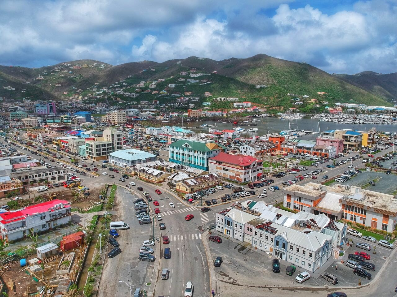 Aerial Shot of Road Town in Tortola  photo by Alton Bertie