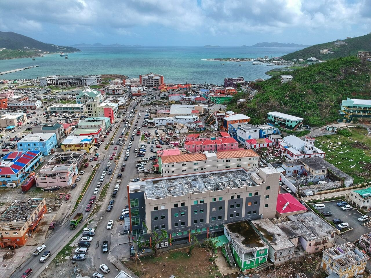 Aerial Shot of Road Town in Tortola - photo by Alton Bertie