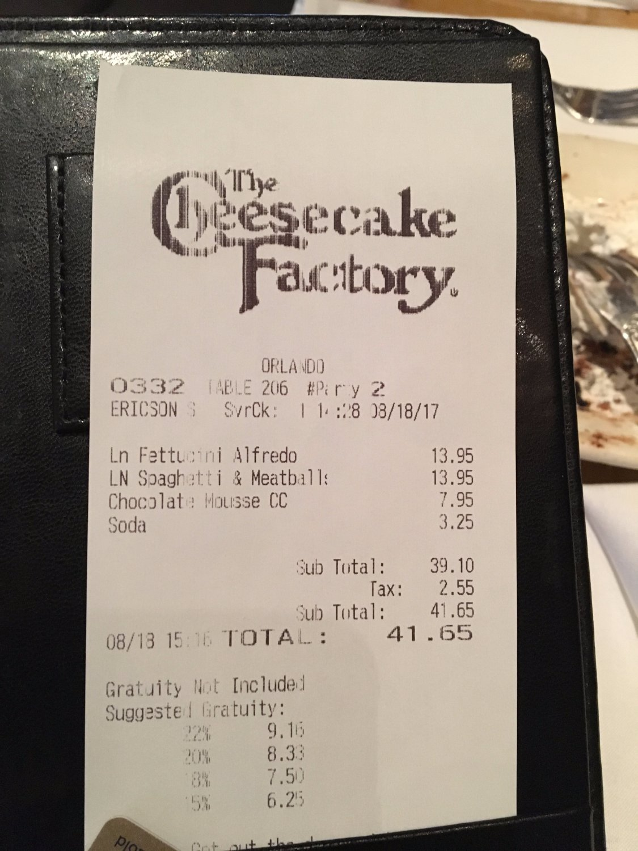 the cheesecake factory orlando millenia menu prices