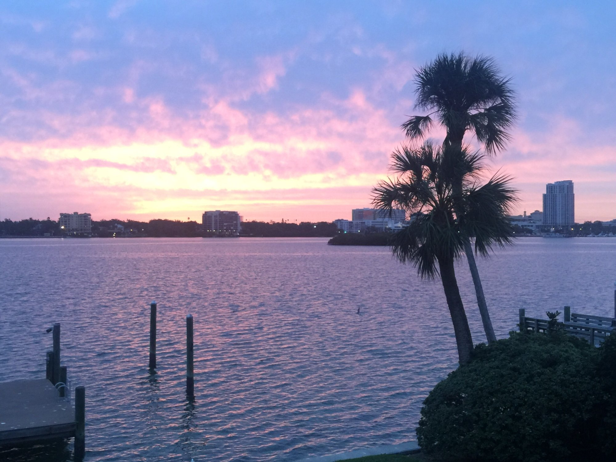 Downtown Clearwater, across the bay at sunrise - Beautiful!