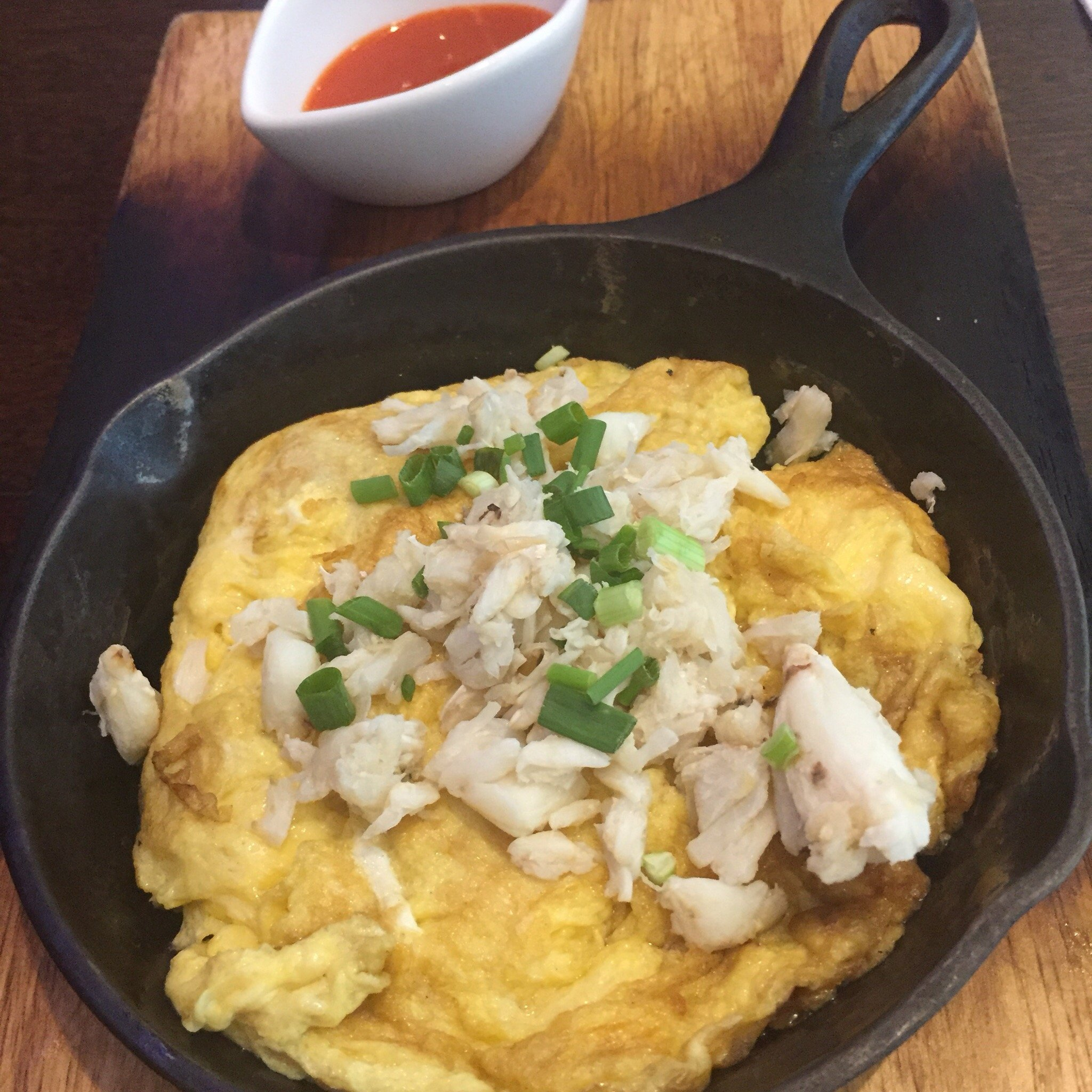 Thai style OmelettE with  crab meat at mango tree bistro central world