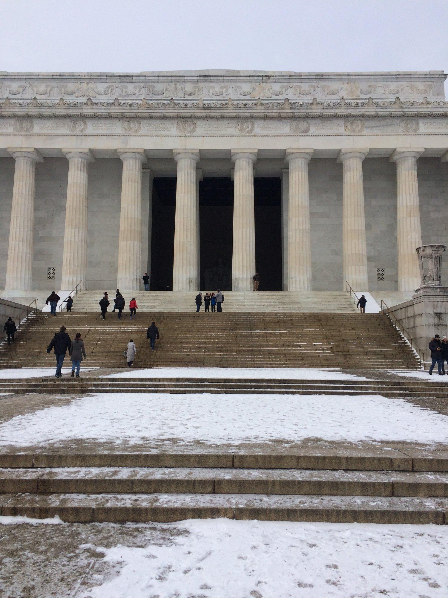 Monumento a Lincoln con nieve, enero 2018