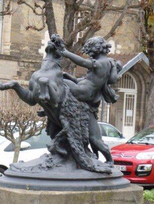 Sculpture Tigre et Enfants