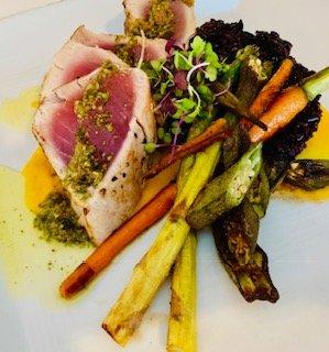 #1 Ahi Tuna, fall vegetables, coconut infused purple sticky rice, butternut squash puree
