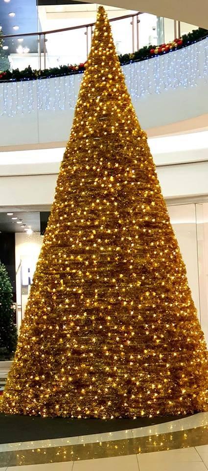 Golden big Christmas tree