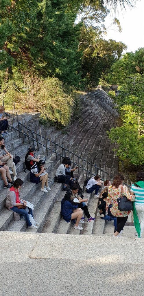 Kyoto - Burg Nijo-jo - Treppen zur Aussichtsplatform