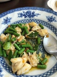 Lump meat crab with string beans