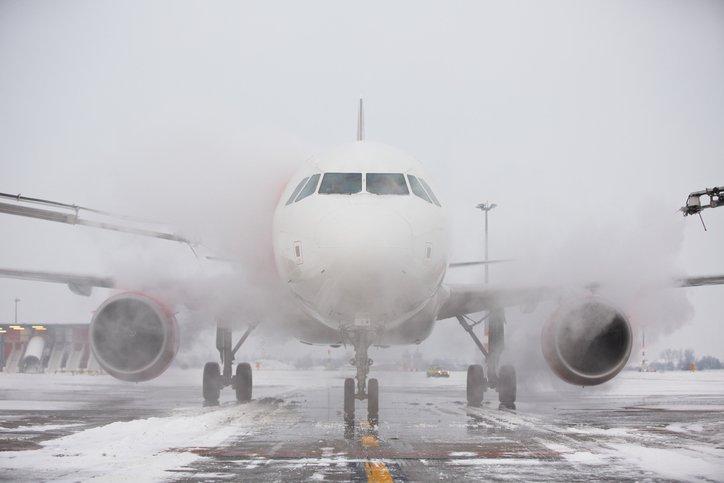 An aircraft undergoing deicing