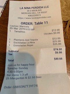 dinner for two $81 + Tip