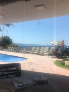 View of adult pool from lunch area