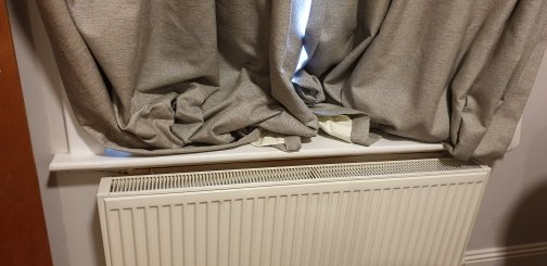 Heating element back to the curtins, the room is a freezer